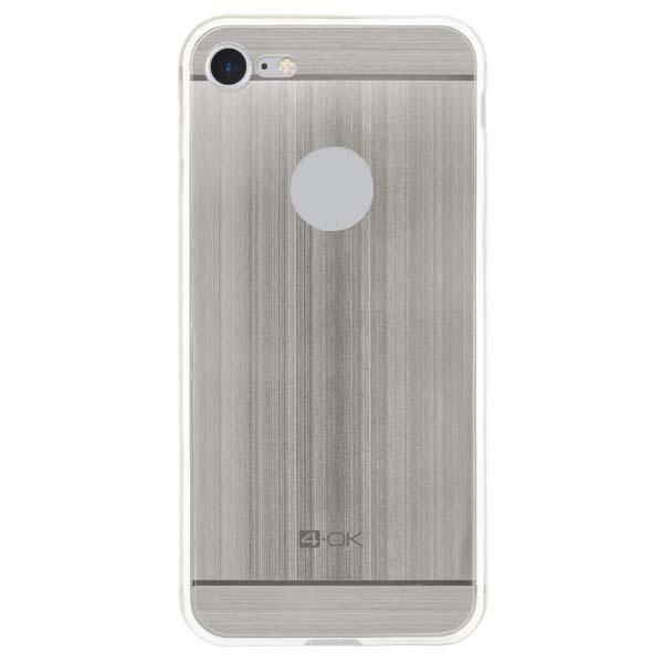 Pouzdro 4-OK TPU Metal Case Pro iPhone 7, stříbrná