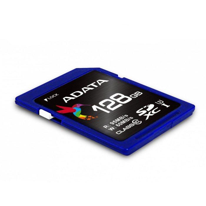 A-Data Secure Digital SDXC UHS-I U3 128GB   Class 10, rychlost až 95MB / s