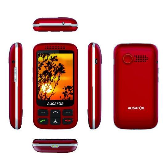Aligator VS900 Senior, Dual SIM, červeno-stříbrný + stolní nabíječka