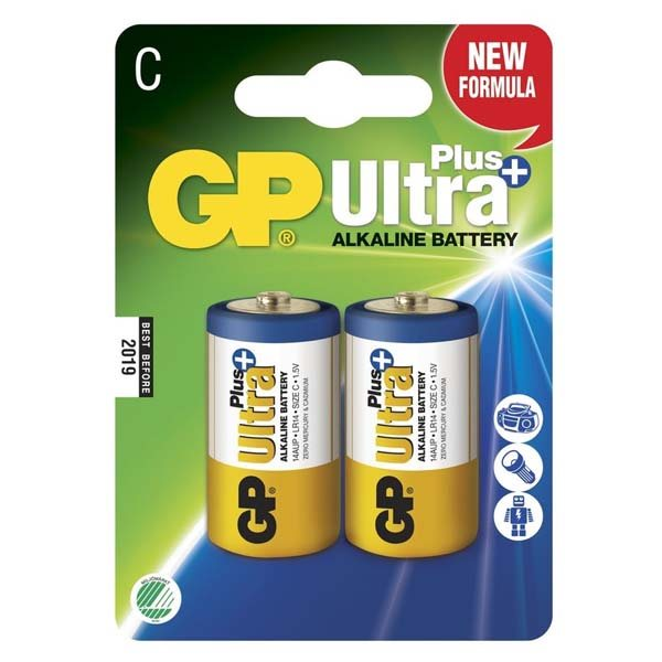 Alkalická baterie typ C, GP Ultra Plus, 2 kusy