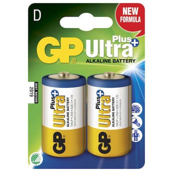 Alkalická baterie typ D, GP Ultra Plus, 2 kusy