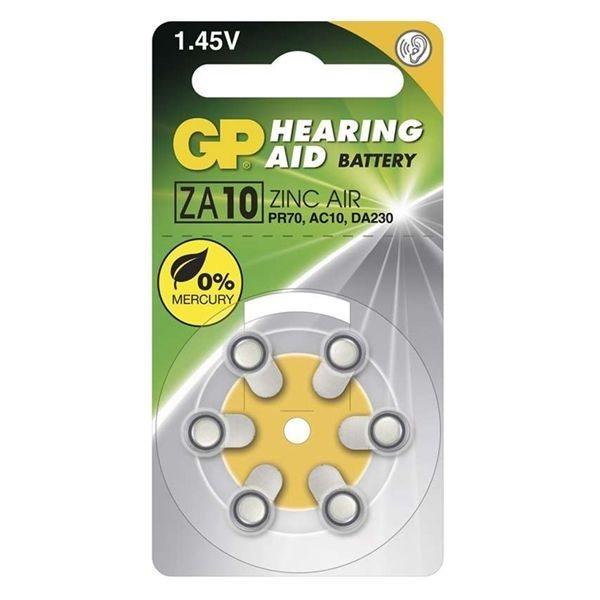 Alkalická knoflíková baterie GP typ ZA10, do naslouchacího přístrojů, 6 kusů