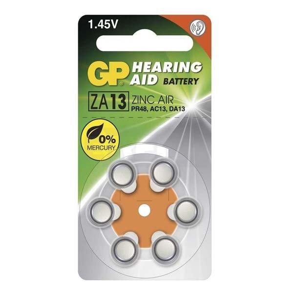 Alkalická knoflíková baterie GP typ ZA13, do naslouchacího přístrojů, 6 kusů