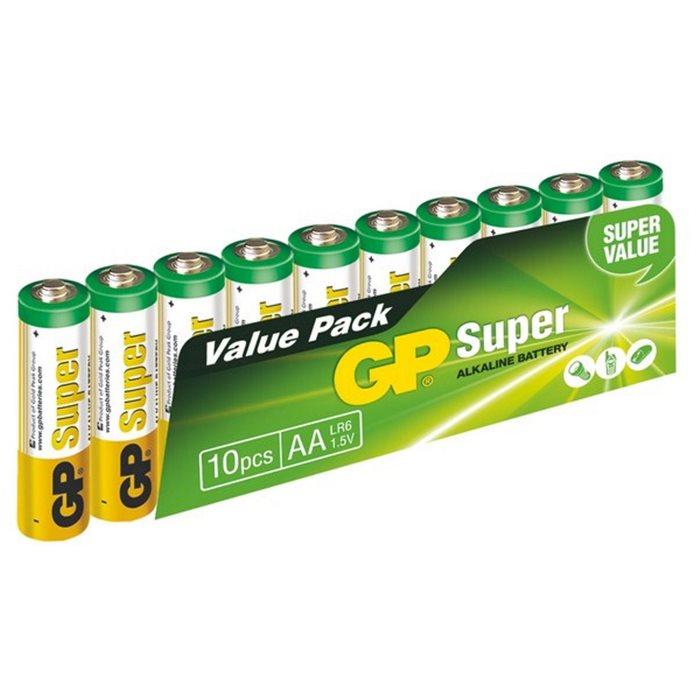 Alkalická tužková baterie AA, GP Super, 10 ks