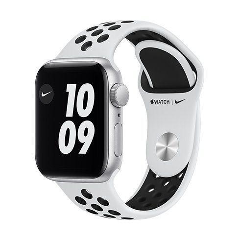 Apple Watch Nike SE GPS, 40mm Silver Aluminium Case with Pure Platinum/Black Nike Sport Band-Regular