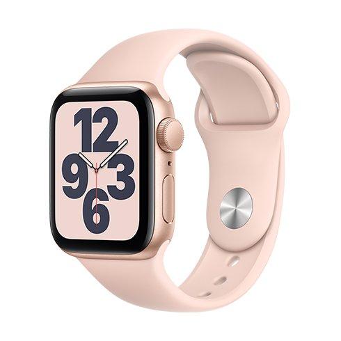 Apple Watch SE GPS, 40mm Gold Aluminium Case with Pink Sand Sport Band-Regular