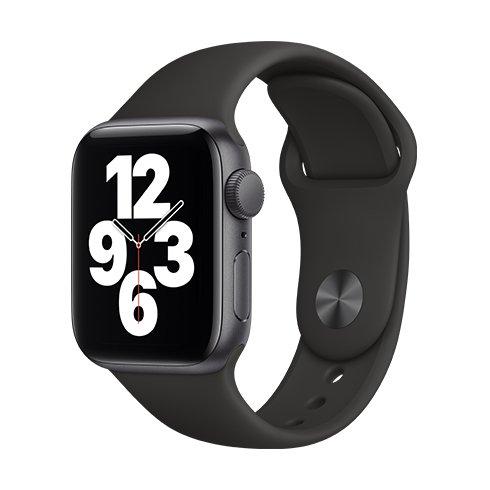 Apple Watch SE GPS, 40mm Space Gray Aluminium Case with Black Sport Band-Regular