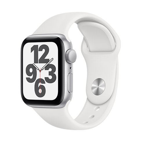 Apple Watch SE GPS, 44mm Silver Aluminium Case with White Sport Band-Regular