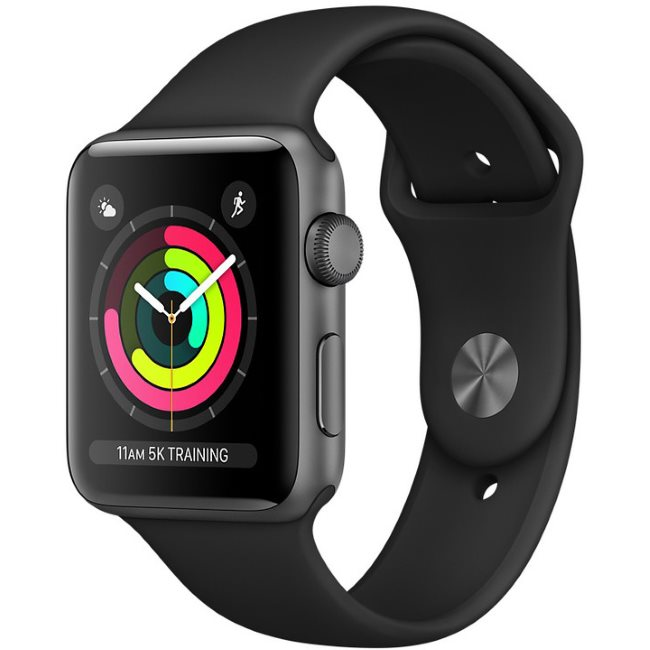Apple Watch Series 3 GPS, 38mm Space Grey Aluminium Case with Black Sport Band MTF02CN/A