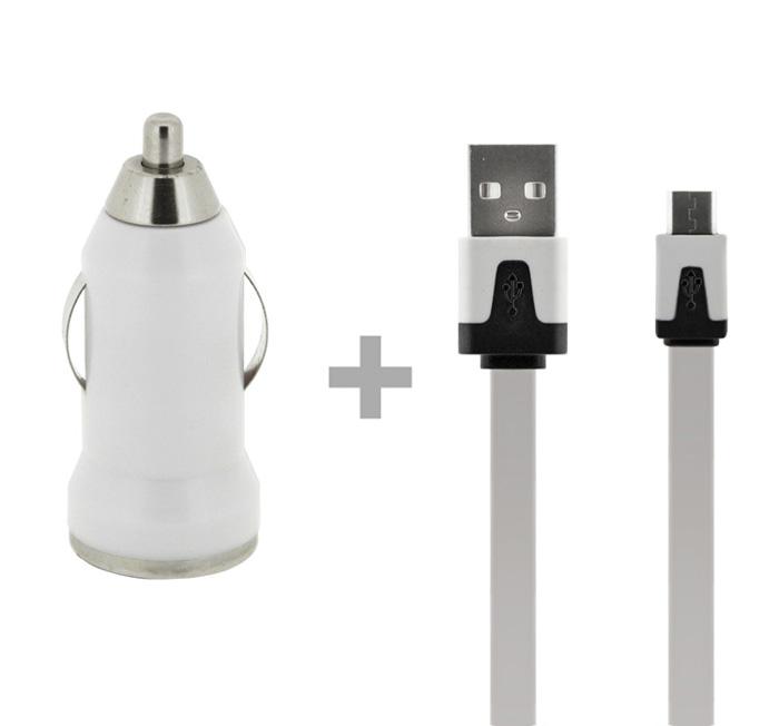Autonabíječka 4-OK + Datový kabel USB, 1AMP, bílá