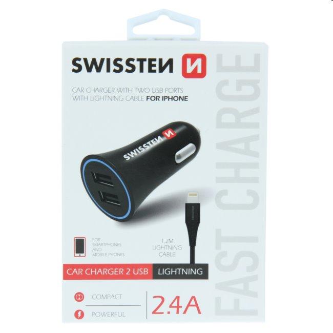 Autonabíjačka Swissten 2.4A s 2x USB + kábel Lightning