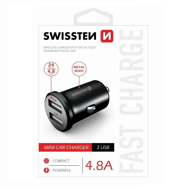 Autonabíječka Swissten kovová 4.8A s 2 USB sloty, Black