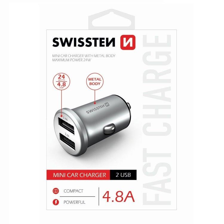 Autonabíječka Swissten kovová 4.8A s 2 USB sloty, Silver