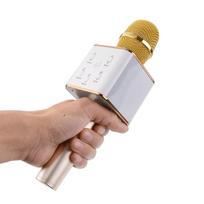 Bezdrátový karaoke mikrofon, zlatý