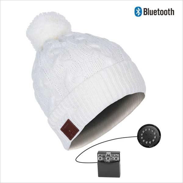 Bluetooth čepice s bambulí, bílá