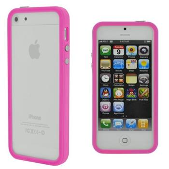 BUMPER WITH BUTTONS TPU PINK IPHONE 5