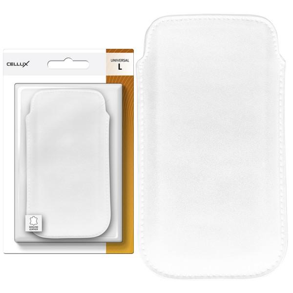 CELLUX Genuine Leather Pouch-L, white, do velikosti 65x12x125mm (Samsung Galaxy SII/SII Plus)
