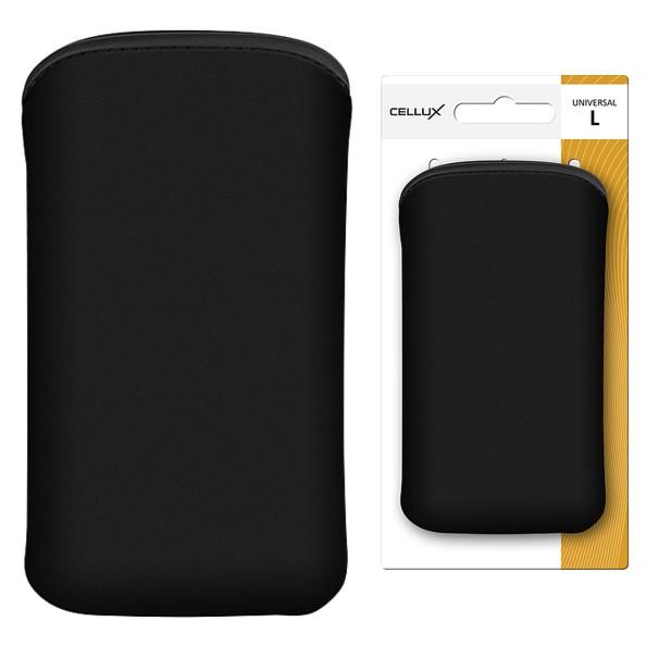 CELLUX MICROFIBRE POUCH-L, BLACK, do velikosti 65x12x123mm (Samsung Galaxy SII/SII Plus)