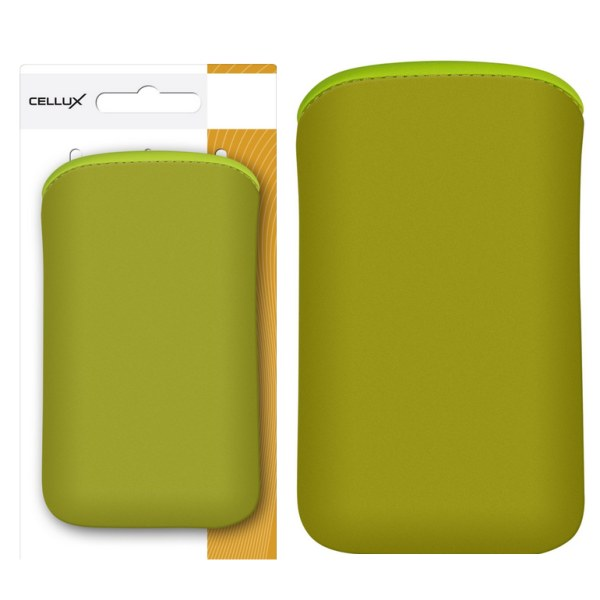 CELLUX Microfibre Pouch-L, green, do velikosti 65x12x123mm (Samsung Galaxy SII/SII Plus)