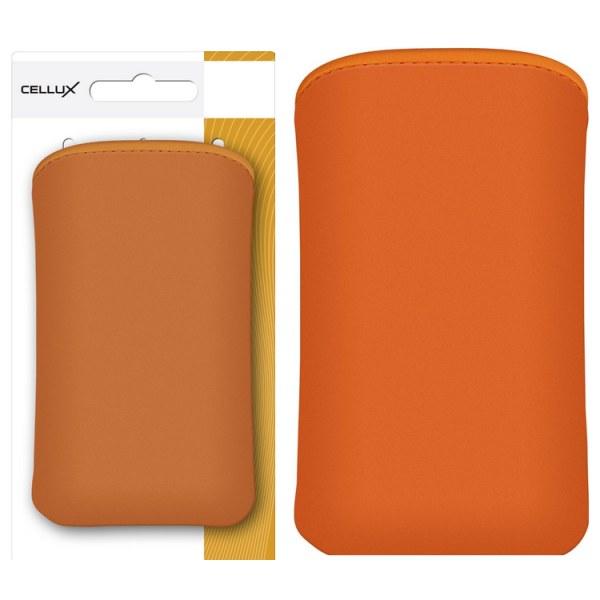 CELLUX Microfibre Pouch-L, orange, do velikosti 65x12x123mm (Samsung Galaxy SII/SII Plus)