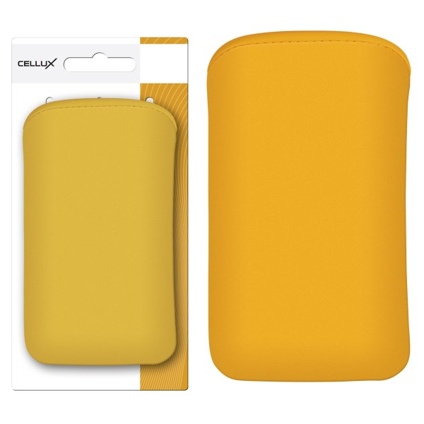 CELLUX Microfibre Pouch-L, yellow, do velikosti 65x12x123mm (Samsung Galaxy SII/SII Plus)