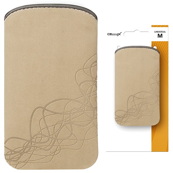 CELLUX MICROFIBRE POUCH-M, BEIGE-WAVES, do velikosti 60x11x116mm (iPhone 4/4s, HTC Desire S)