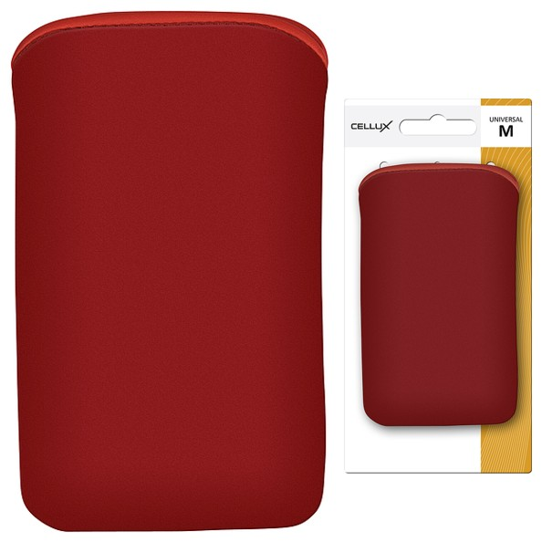 CELLUX MICROFIBRE POUCH-M, RED, do velikosti 60x11x116mm (iPhone 4/4s, HTC Desire S)