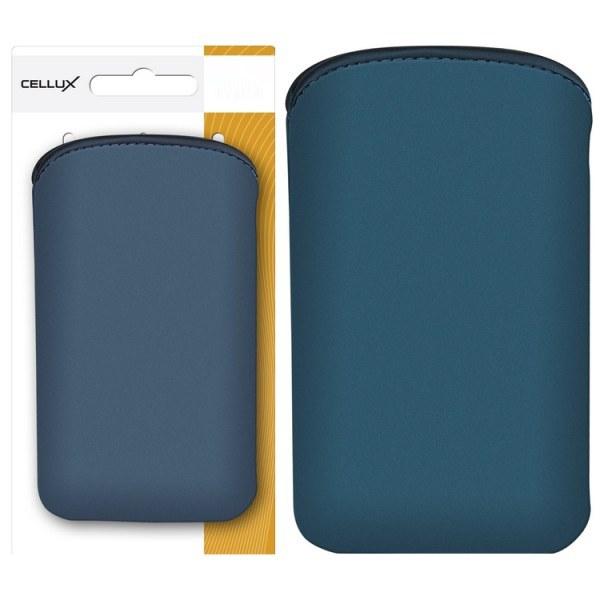 CELLUX MICROFIBRE POUCH WITH PULLSTRAP-L, DARK BLUE-WAVES, do velikosti 65x12x123mm (Samsung Galaxy SII/SII Plus)
