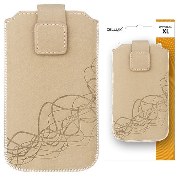 CELLUX Microfibre pouch with pullstrap-XL, beige-waves, do velikosti 75x12x139mm (Samsung Galaxy SIII, HTC One X)