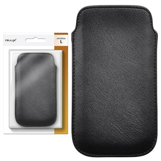 CELLUX PU Leather Pouch-L, black, do velikosti 65x12x125 (Samsung Galaxy SII/SII Plus)