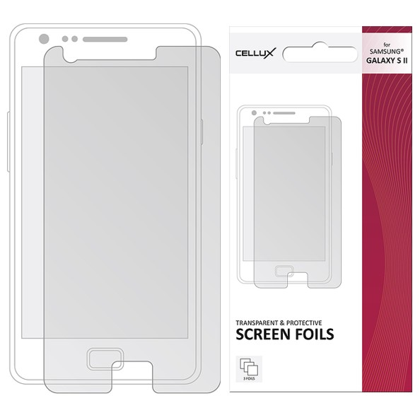 CELLUX TRANSPARENT AND PROTECTIVE SCREEN SAMSUNG GALAXY SII, 3 kusy