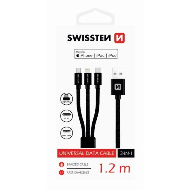 Datový kabel Swissten textilní 3 v 1 as podporou rychlonabíjení, černý