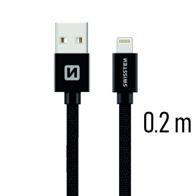 Datový kabel Swissten textilní s Lightning konektorem a podporou rychlonabíjení, Black