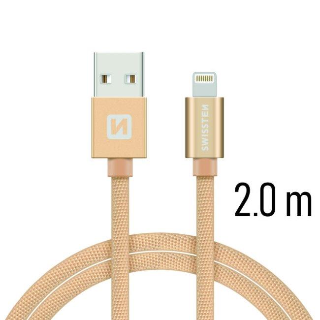 Datový kabel Swissten textilní s Lightning konektorem a podporou rychlonabíjení, Gold