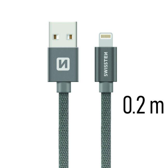 Datový kabel Swissten textilní s Lightning konektorem a podporou rychlonabíjení, Grey