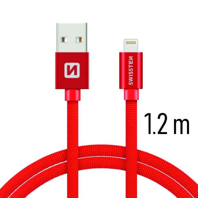 Datový kabel Swissten textilní s Lightning konektorem a podporou rychlonabíjení, Red