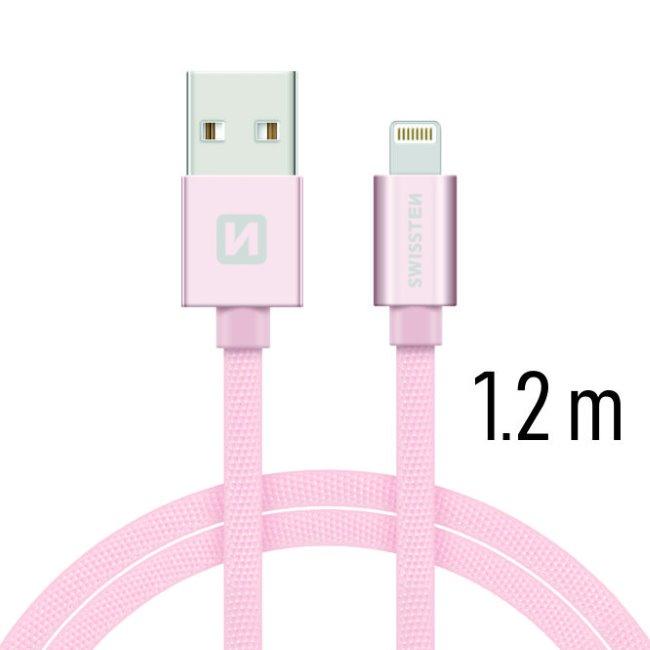 Datový kabel Swissten textilní s Lightning konektorem a podporou rychlonabíjení, Rose Gold