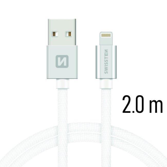 Datový kabel Swissten textilní s Lightning konektorem a podporou rychlonabíjení, Silver