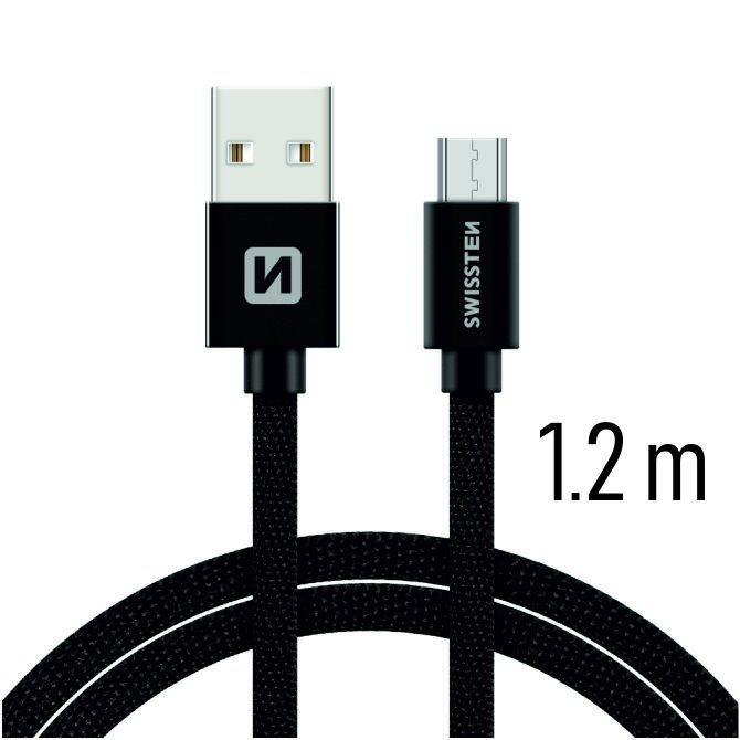 Datový kabel Swissten textilní s Micro-USB konektorem a podporou rychlonabíjení, Black