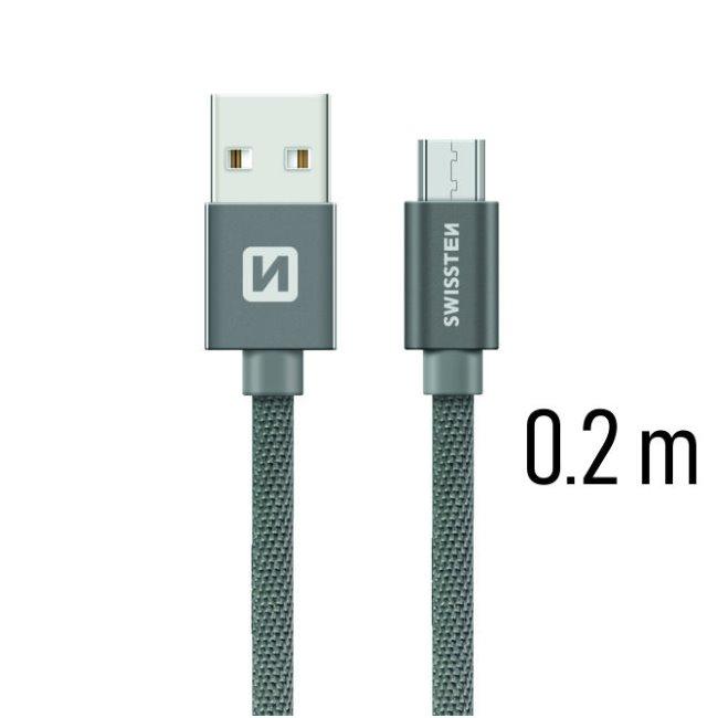 Datový kabel Swissten textilní s Micro-USB konektorem a podporou rychlonabíjení, Grey