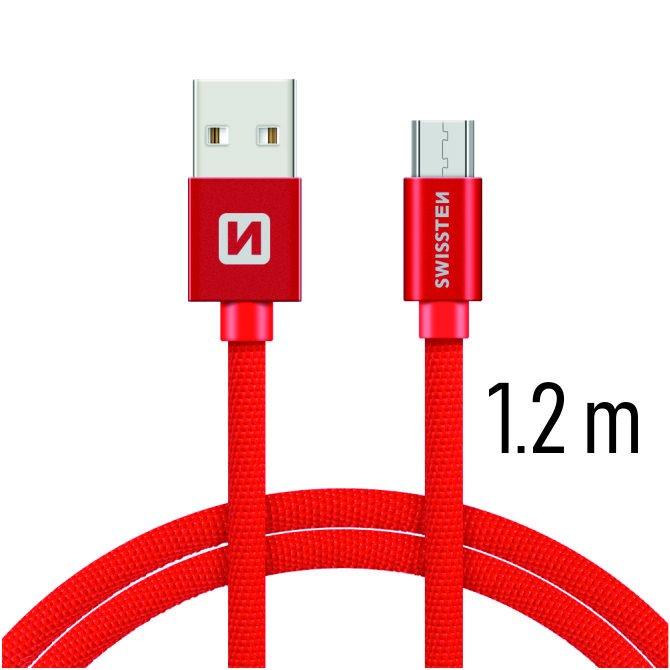 Datový kabel Swissten textilní s Micro-USB konektorem a podporou rychlonabíjení, Red