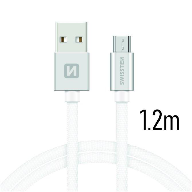 Datový kabel Swissten textilní s Micro-USB konektorem a podporou rychlonabíjení, Silver