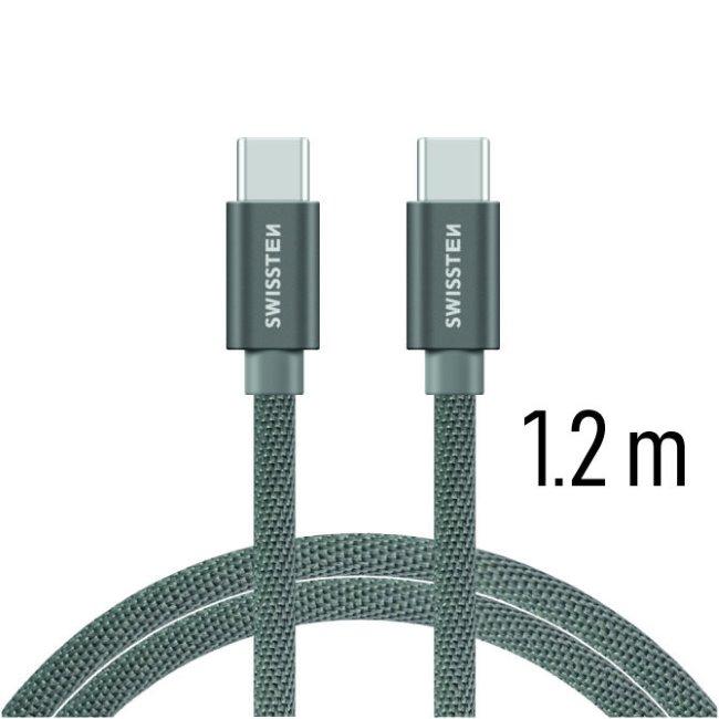 Datový kabel Swissten textilní s USB-C konektory a podporou rychlonabíjení, Grey
