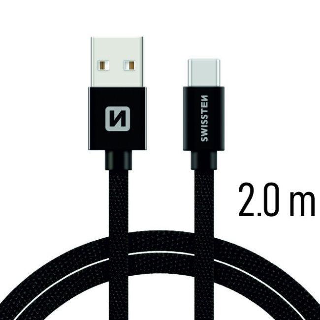 Datový kabel Swissten textilní s USB-C konektorem a podporou rychlonabíjení, Black