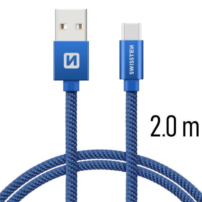 Datový kabel Swissten textilní s USB-C konektorem a podporou rychlonabíjení, Blue