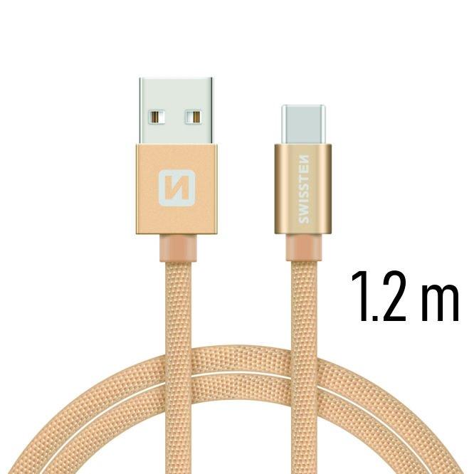 Datový kabel Swissten textilní s USB-C konektorem a podporou rychlonabíjení, Gold