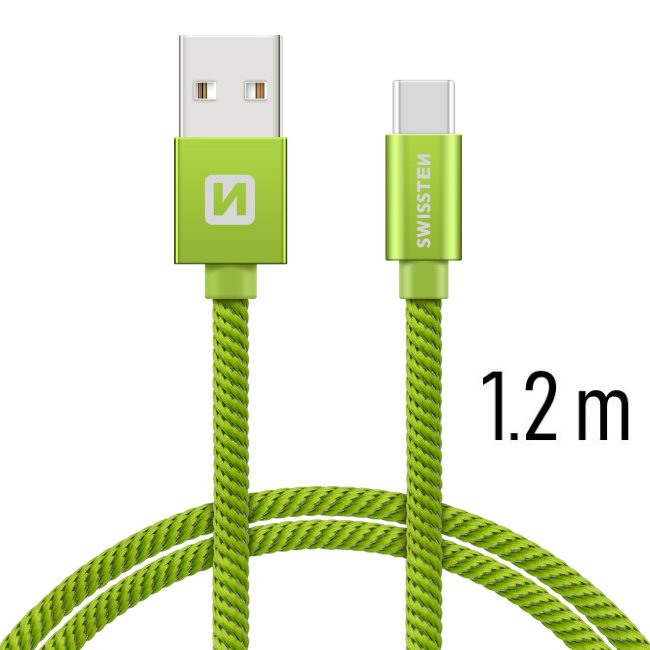 Datový kabel Swissten textilní s USB-C konektorem a podporou rychlonabíjení, Green