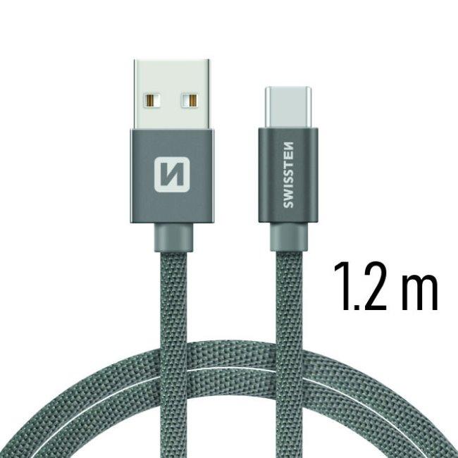 Datový kabel Swissten textilní s USB-C konektorem a podporou rychlonabíjení, Grey