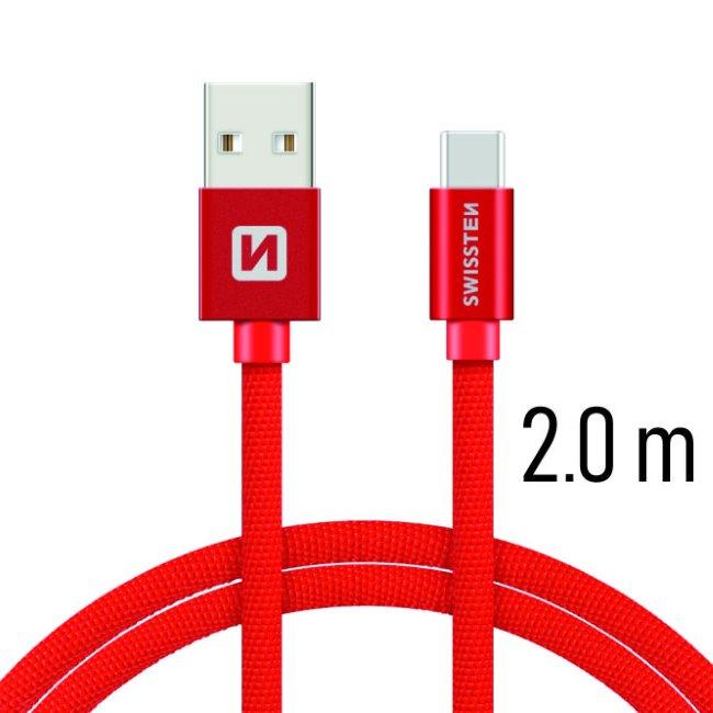 Datový kabel Swissten textilní s USB-C konektorem a podporou rychlonabíjení, Red