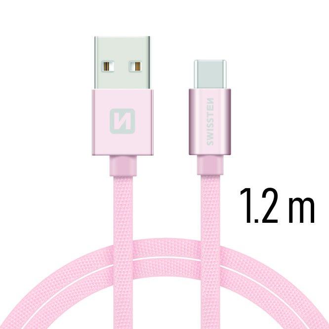 Datový kabel Swissten textilní s USB-C konektorem a podporou rychlonabíjení, Rose Gold